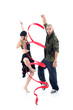 Rapper with ribbon and gymnast girl in black hat dance isolated