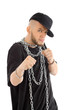 Rapper wearing black t-shirt with big chain at neck