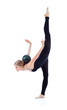 Graceful gymnast in black with ball on back stands on one leg