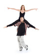 Breakdancer keeps on shoulders ballerina and poses isolated
