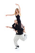 Breakdancer keeps on shoulders ballerina isolated