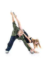 Happy rapper and gymnast girl depict triangle isolated on white