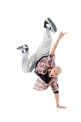 Breakdancer stands on one hand and screams isolated