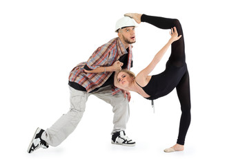 Ballerina in black put her foot on head of man and breakdancer