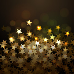 Golden Christmas background with stars, vector Eps10 image