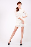 Beautiful young woman in white openwork dress poster