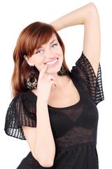 Happy girl in black dress and bid earrings smiles