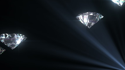 Beautiful Diamonds flying with Matte in Looped animation.