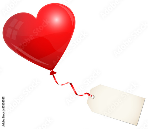 Flying Red Heart Balloon & Label