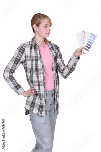 Woman undecided color swatch