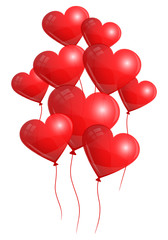 9 Flying Red Heart Balloons