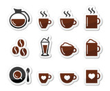 Coffee icons on labels set
