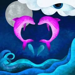 cuore con delfini rosa