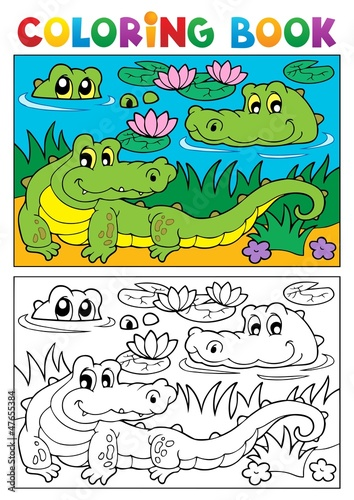 Coloring book crocodile image 2
