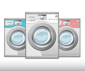 Closed washing machine on white background. Vector