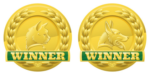 Cat and dog pet winners medals