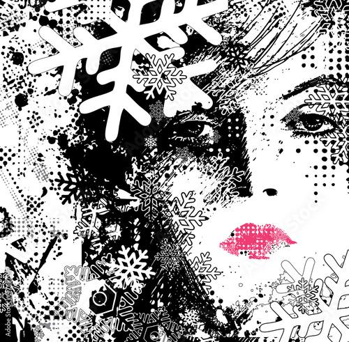 Keuken foto achterwand Vrouw gezicht abstract illustration of a winter woman