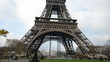 Wide angle view of Eiffel Tower in Paris