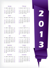 2013 calendar with purple origami pape