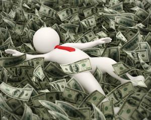 3d rich business man swimming in money ocean