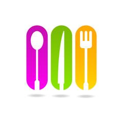 kitchen colored logo menu sign icon