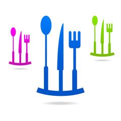 kitchen colored logo menu icon sign