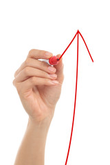 Woman hand drawing a growth arrow