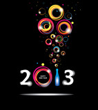 New year 2013 in black background. Abstract poster
