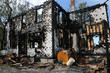 Canada, Quebec,an old charred house in Sainte Madeleine de la Ri