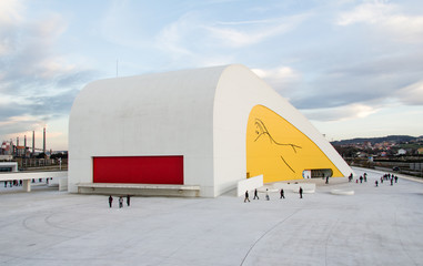Original shapes of cultural center building in Aviles, Spain