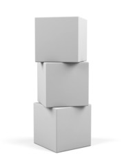3d white cubes isolated.