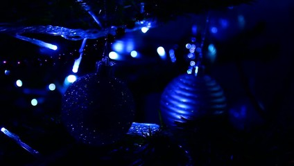 Blue globes and Christmas ligts.