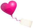 Flying Pink Heart Balloon & Label