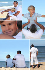 Man and little boy at the beach