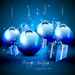 Elegant blue Christmas background with baubles and gifts
