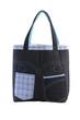 Dark blue jean fabric handbag.