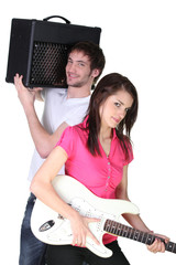 boy and girl in a music band