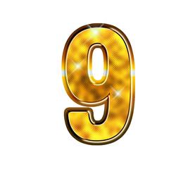 9 - neuf - Chiffre de luxe en or
