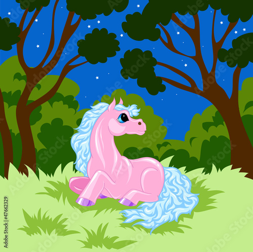 Poster Pony pink cartoon horse