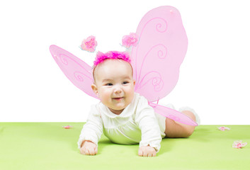 Pretty child girl, dressed in butterfly costume