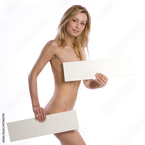 natural nude woman holding empty white billboard