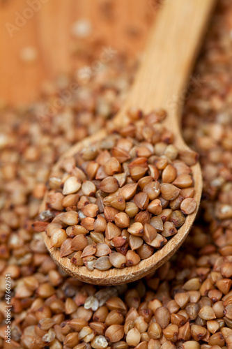 buckwheat in a wooden spoon