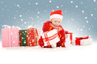 santa helper baby with christmas gifts