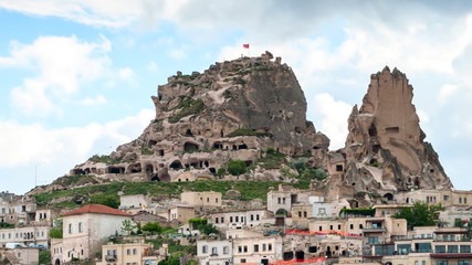 Timelapse view of Uchisar hill at Cappadocia,  central Turkey.