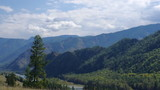 Panoramic view of a mountain ridge in the Altai mountains