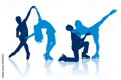 Silhouettes of figure skaters