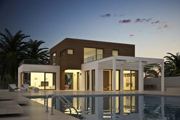 Villa am Abend