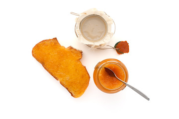 Breakfast with orange jam