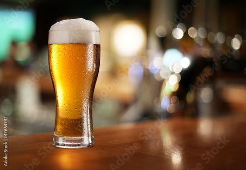 Glass of light beer. Poster