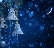 art snow christmas decoration on blue background